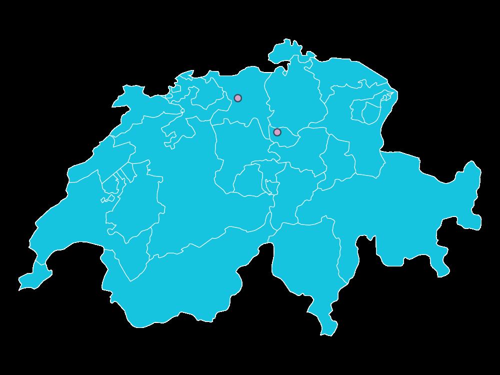 Schweizer Karte mit den Lotus Facility Standorten Aarau und Baar